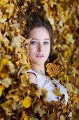Beautiful Girl In A Yellow Leaves