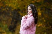 Beautiful Girl In A Pink Fur Coat