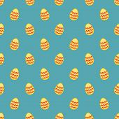 Tile vector pattern with easter eggs on mint blue background