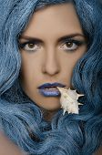 Beautiful Woman With Blue Hair And Seashells