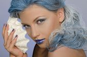 Charming Woman With Blue Hair And Seashells
