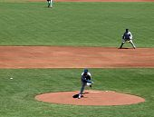 Cubs Randy Wells Throws Pitch With Shortstop In View