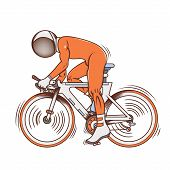 Isolated cartoon astronaut futuristic bicycle race