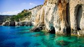 stock photo of crystal clear  - Famous blue caves view on Zakynthos island  - JPG