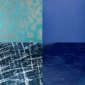 Set Of Blue Leather Samples