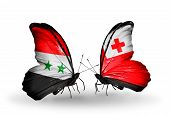 Two Butterflies With Flags On Wings As Symbol Of Relations Syria And Tonga
