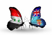 Two Butterflies With Flags On Wings As Symbol Of Relations Syria And Fiji
