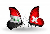 Two Butterflies With Flags On Wings As Symbol Of Relations Syria And Switzerland