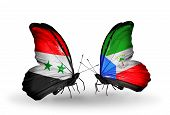 Two Butterflies With Flags On Wings As Symbol Of Relations Syria And Equatorial Guinea