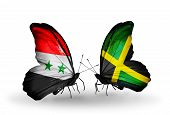 Two Butterflies With Flags On Wings As Symbol Of Relations Syria And Jamaica