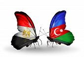Two Butterflies With Flags On Wings As Symbol Of Relations Egypt And Azerbaijan