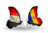 Two Butterflies With Flags On Wings As Symbol Of Relations Egypt And Andorra