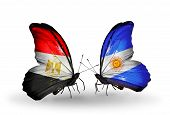 Two Butterflies With Flags On Wings As Symbol Of Relations Egypt And Argentina