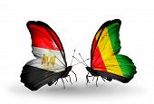 Two Butterflies With Flags On Wings As Symbol Of Relations Egypt And Guinea