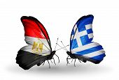 Two Butterflies With Flags On Wings As Symbol Of Relations Egypt And Greece