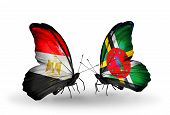 Two Butterflies With Flags On Wings As Symbol Of Relations Egypt And Dominica
