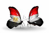 Two Butterflies With Flags On Wings As Symbol Of Relations Egypt And Yemen