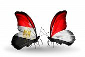 Two Butterflies With Flags On Wings As Symbol Of Relations Egypt And Monaco, Indonesia