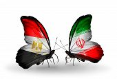 Two Butterflies With Flags On Wings As Symbol Of Relations Egypt And Iran