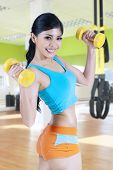 Healthy Woman With Two Dumbbells