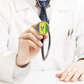 Doctor Holding Stethoscope With Flag Series - Saint Vincent And The Grenadines