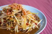 stock photo of green papaya salad  - Spicy papaya salad Famous food of Thailand - JPG