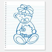 Sketch bear with cake on a notebook