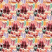 Birthday Seamless Background With Sticker Presents And Balloons