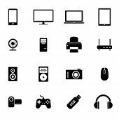 Set of black flat icons - PC hardware, computer parts and electronic devices
