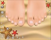 Beautiful Female Feet With A Pedicure On A Sandy Beach.