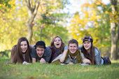 foto of bff  - Five caucasian teenagers enjoying the outdoors together - JPG