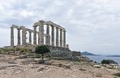 pic of poseidon  - Ruins of the Poseidon temple at the very tip of cape Sounio - JPG