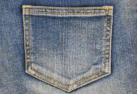 image of denim jeans  - Fragment of jeans with pocket - JPG