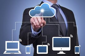 stock photo of touching  - Cloud Computing Concepts technology cloud solution ideas - JPG