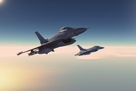 picture of fighter plane  - 3D render of fighters plane in the clouds - JPG