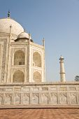 picture of mughal  - The side of the famous Indian landmark Taj Mahal a mughal mausoleum in the town of Agra India - JPG