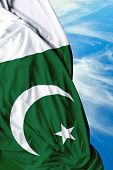 stock photo of pakistani flag  - Pakistani waving flag on a beautiful day - JPG