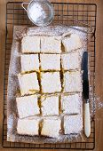 stock photo of icing  - Tangy lemon squares with icing sugar on rack - JPG