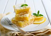 image of icing  - Tangy lemon squares with icing sugar on plate - JPG