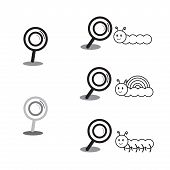 stock photo of worm  - black magnifying glass and animal cartoon characters vector illustration collection set showing magnifying worm snail and centipede - JPG