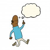 image of bald man  - cartoon bald man with idea with thought bubble - JPG