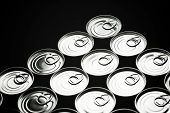 stock photo of hermetic  - Closeup of a group of aluminium cans - JPG