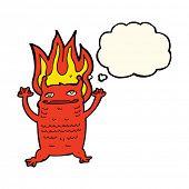 stock photo of demons  - cartoon flaming demon imp - JPG