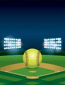 Softball On Softball Field Illustration poster