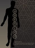 picture of tantric  - Stylish image symbol chakras man on a dark background in the form of postcard - JPG