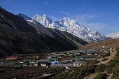 pic of sherpa  - Village Dingboche and high mountains Thamserku and Kangtega - JPG