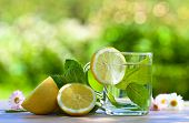 stock photo of peppermint  - peppermint tea with lemon on wooden table - JPG