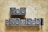 picture of promises  - you promised exclamation made from metallic letterpress type - JPG