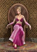 stock photo of throne  - 3D digital render of a beautiful fairy tale princess sitting on a throne old style room background - JPG