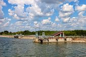 stock photo of dam  - Dam on the lagoon Nielisz near Nielisz village located in the Lublin province Poland - JPG